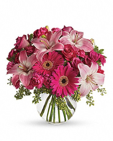Valentine Day Gerbera  and Lily Vase
