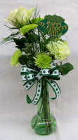 St Pats Day glass vase