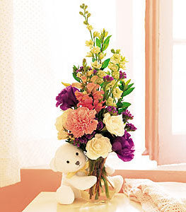 Bear Hug Bear with White Roses