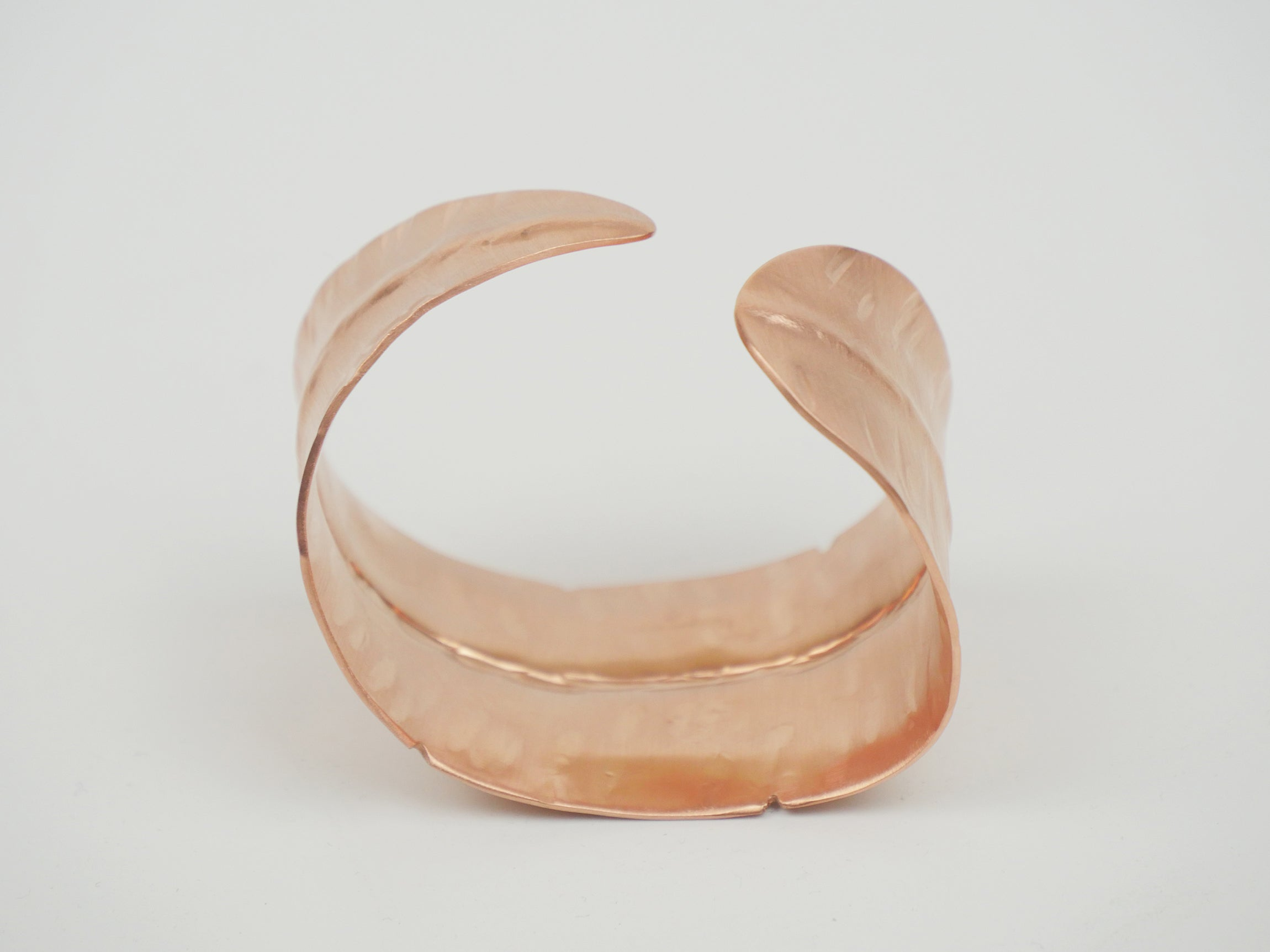 Feather Cuff Bracelet -Big C Copper, Local Coppersmith, American Made copper home goods, copper gifts, copper jewelry, 7th anniversary
