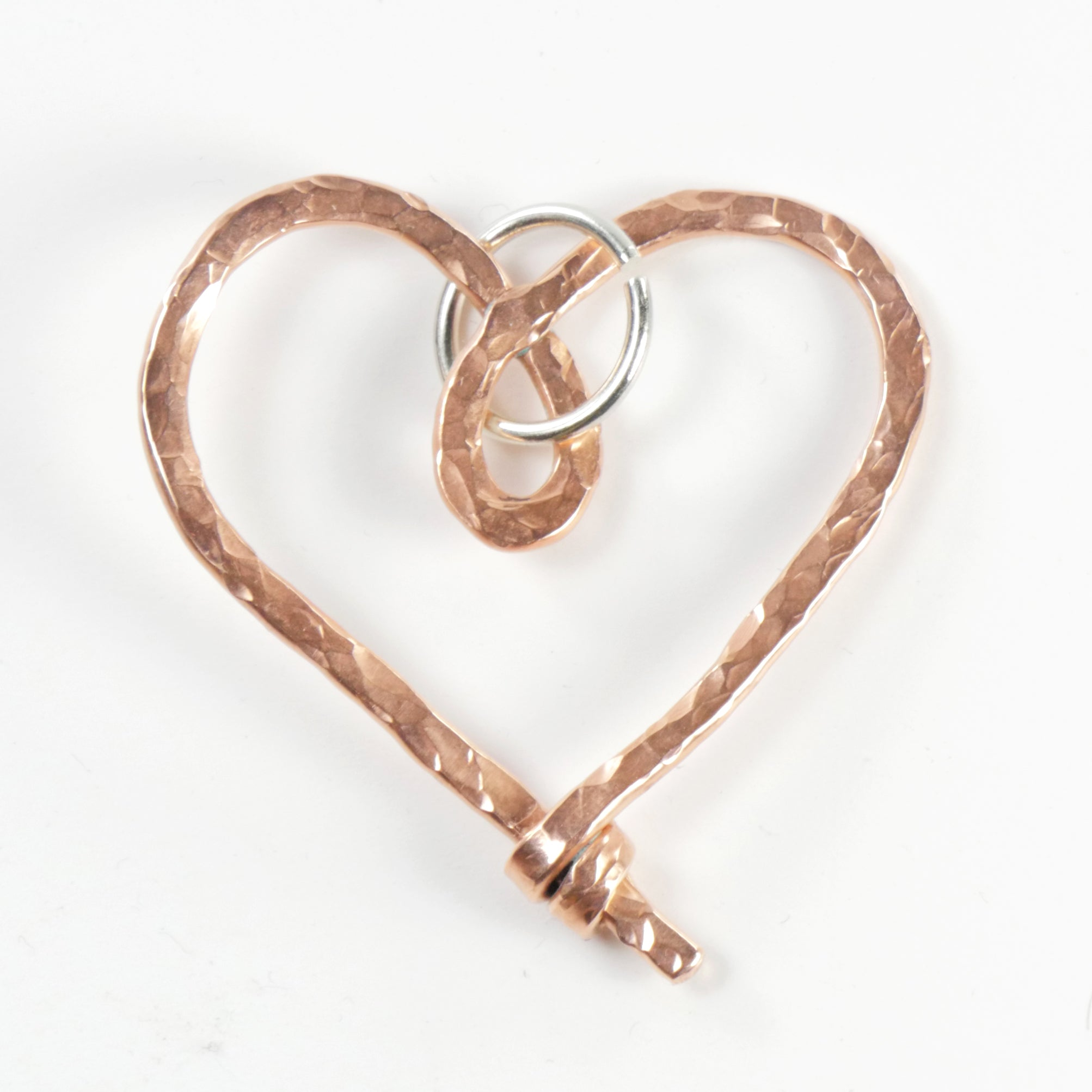 """Cherish"" Heart Ornament/Keycharm -Big C Copper, Local Coppersmith, American Made copper home goods, copper gifts, copper jewelry, 7th anniversary"