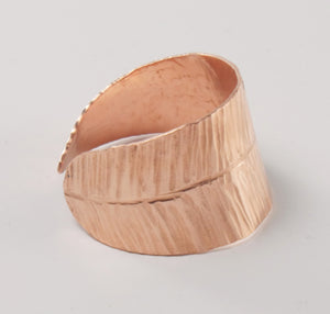 """Soar"" Feather Napkin Ring -Big C Copper, Local Coppersmith, American Made copper home goods, copper gifts, copper jewelry, 7th anniversary"