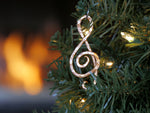 """Crescendo"" Treble Clef Ornament/Keycharm -Big C Copper, Local Coppersmith, American Made copper home goods, copper gifts, copper jewelry, 7th anniversary"