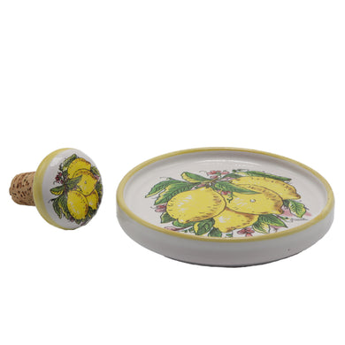 Vietri Lemons Bottle Coaster and Wine Stopper Set