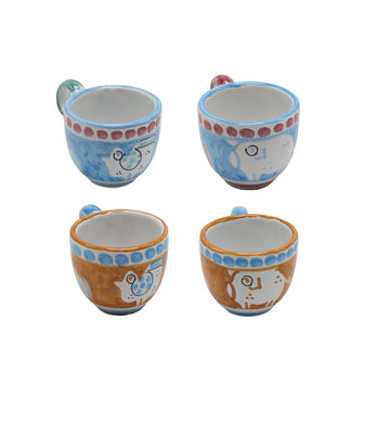Vietri Chicks & Pigs Four Espresso Cup Set
