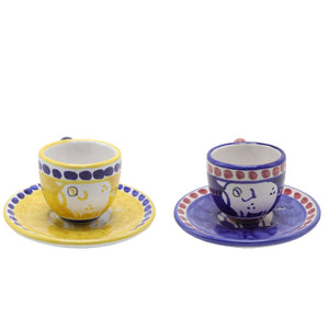 Vietri Chicks & Pigs 2 Espresso Cup Set With Plate