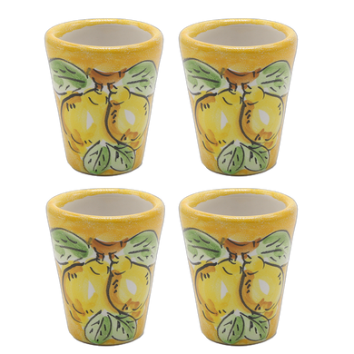 Vietri Lemons Limoncello Four Cup Set