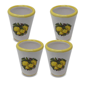 Limoncello Cup Set (4pcs) With Handpainted  Flat Design