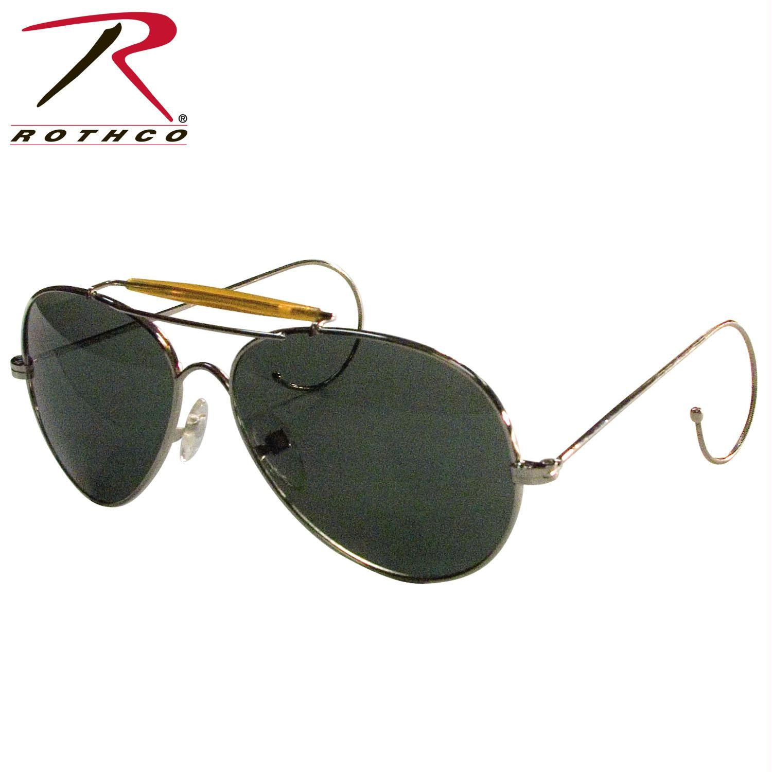 Rothco Aviator Air Force Style Sunglasses - Green / Military Printed Case & Box