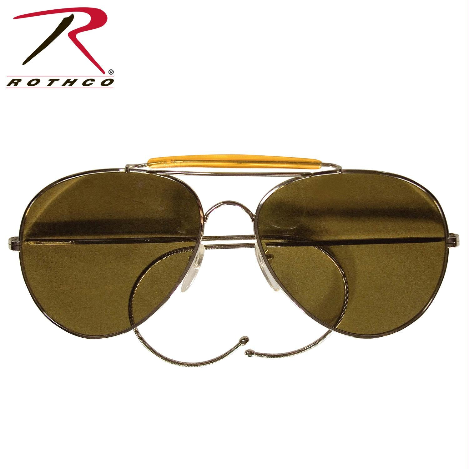 Rothco Aviator Air Force Style Sunglasses - Brown / Military Printed Case & Box