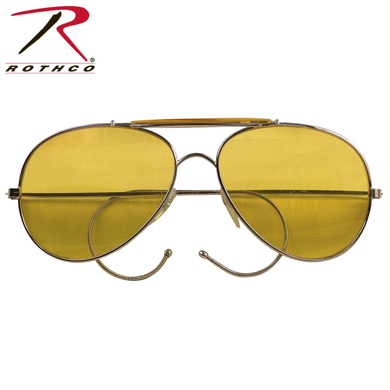 Rothco Aviator Air Force Style Sunglasses - Yellow / Military Printed Case & Box