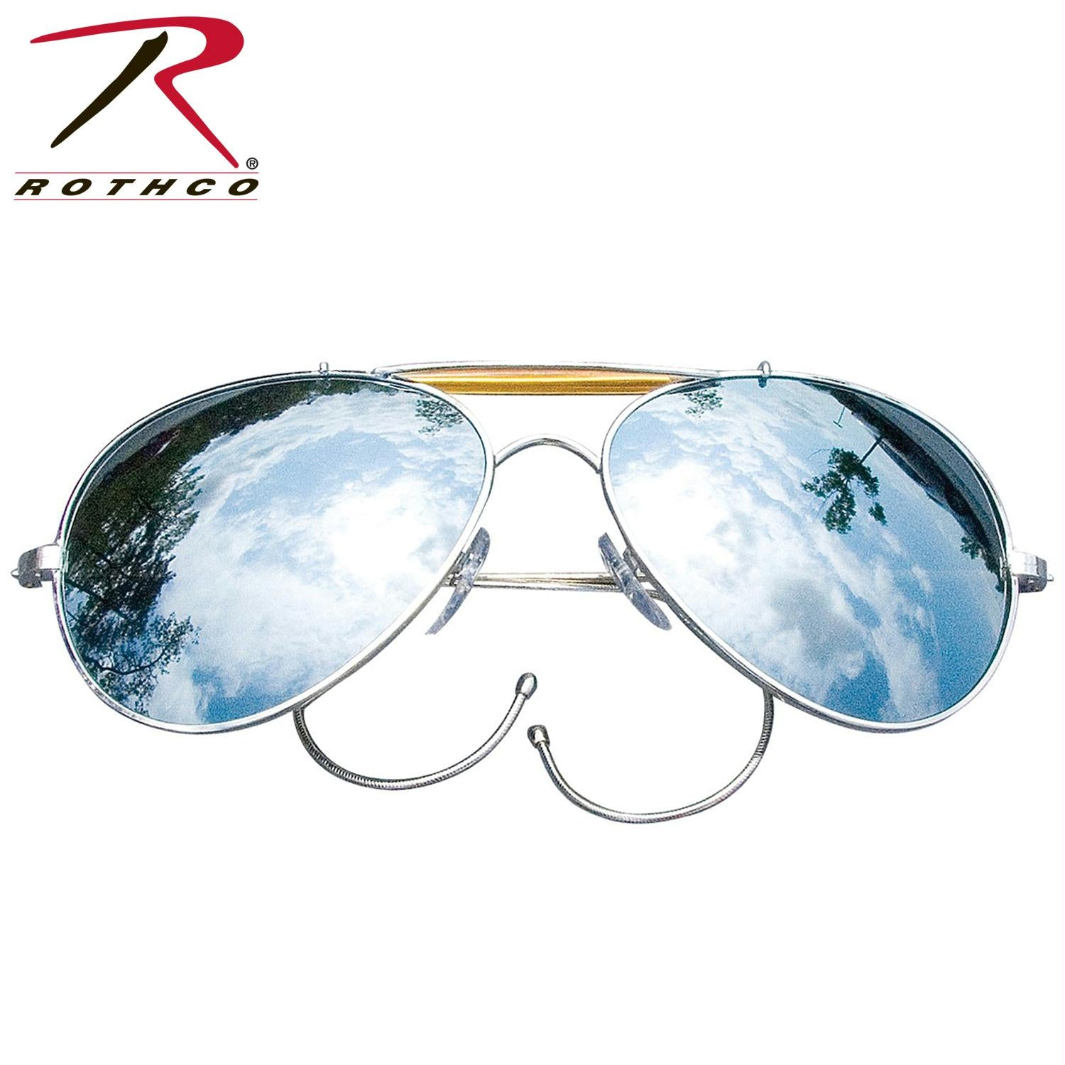 Rothco Aviator Air Force Style Sunglasses - Mirror / Military Printed Case & Box