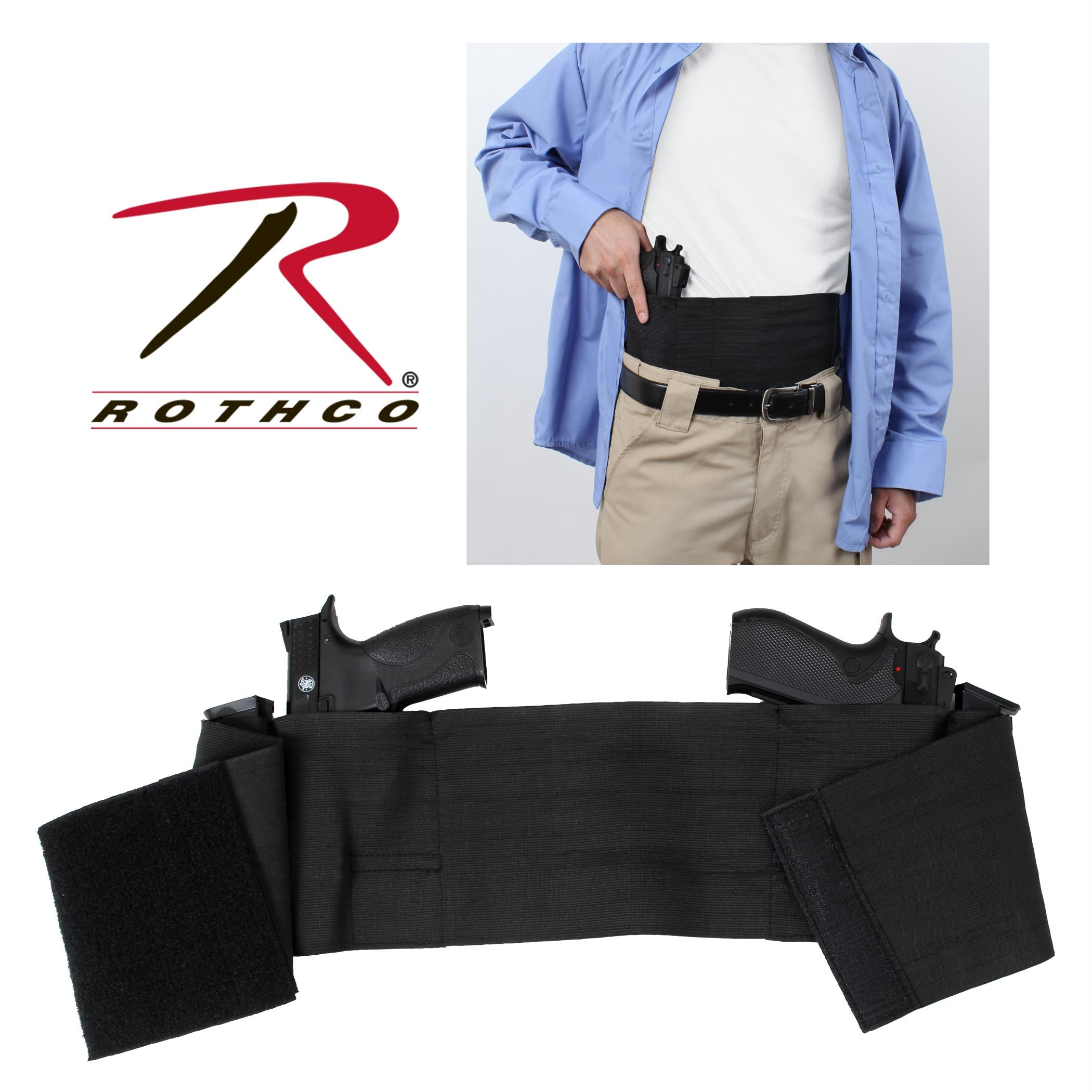 Rothco Ambidextrous Concealed Elastic Belly Band Holster - 2XL / 3XL