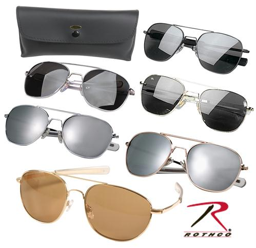 Rothco G.I. Type Aviator Sunglasses - Black / Smoke / 58 MM