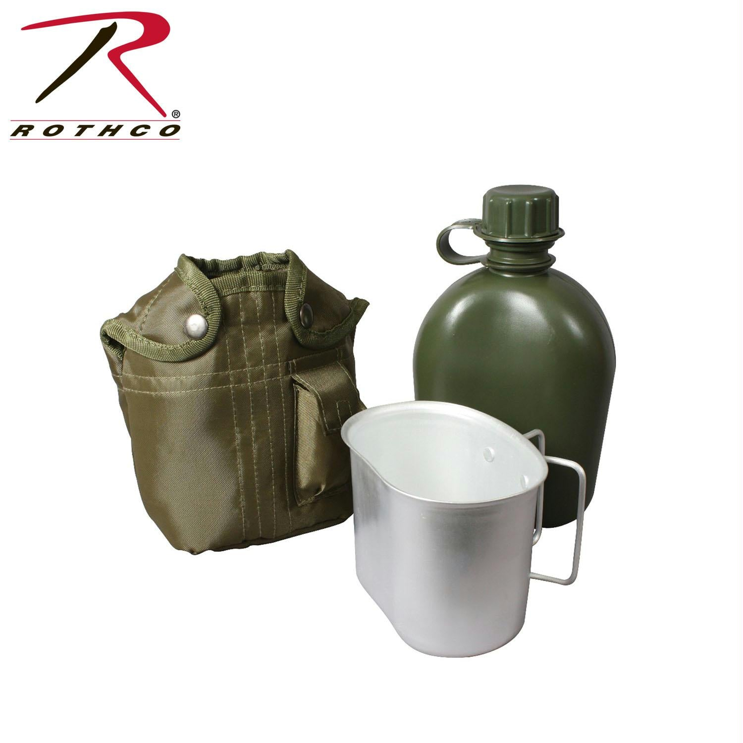 Rothco 3 Piece Canteen Kit With Cover & Aluminum Cup - Olive Drab