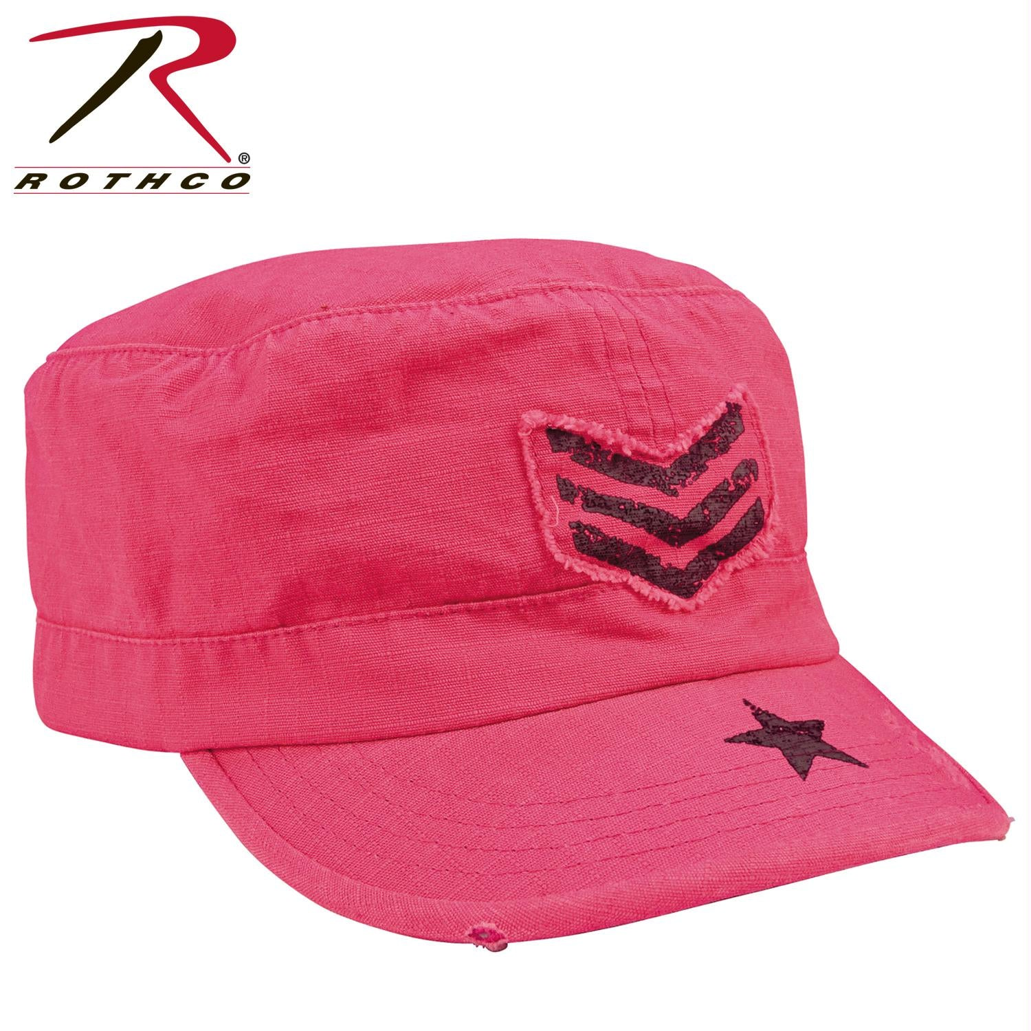 Rothco Women's Vintage Stripes & Stars Adjustable Fatigues Cap - Pink