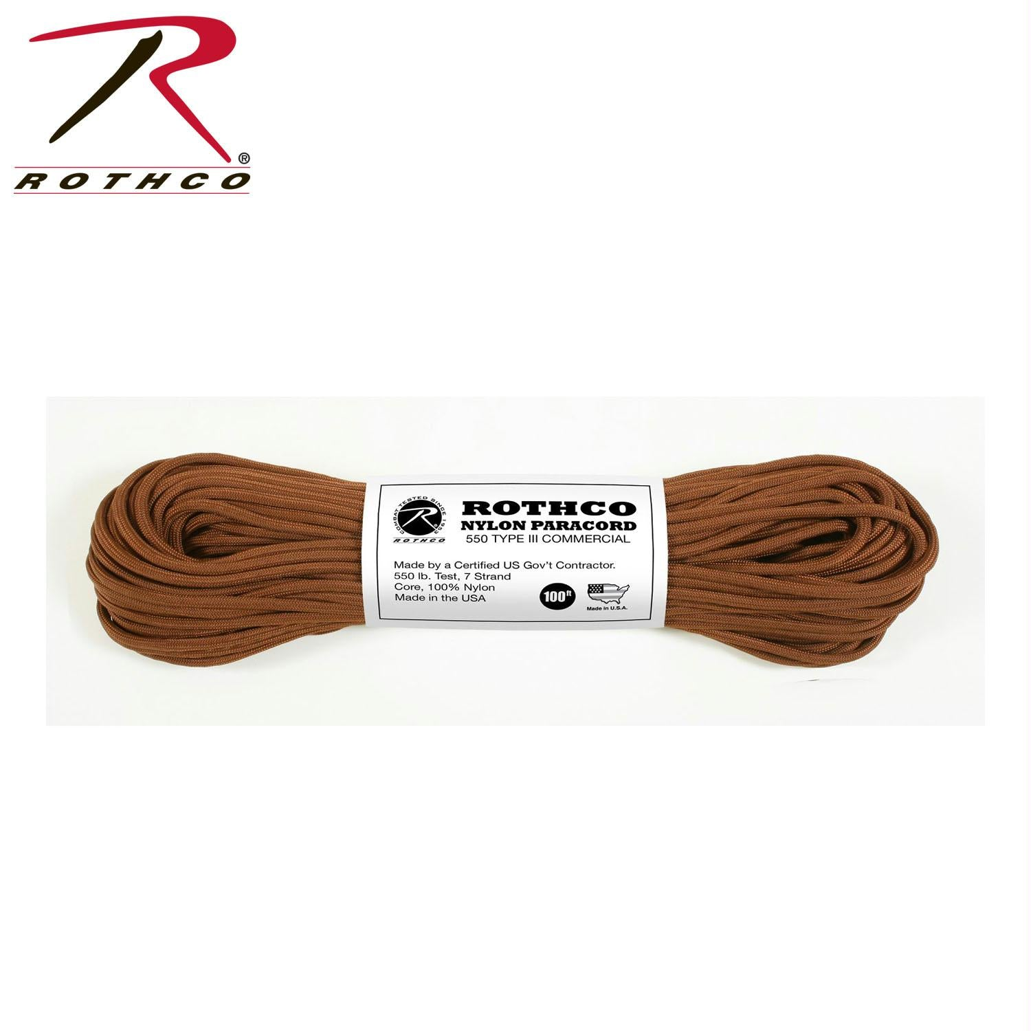 Rothco Nylon Paracord Type III 550 LB 100FT - Chocolate Brown