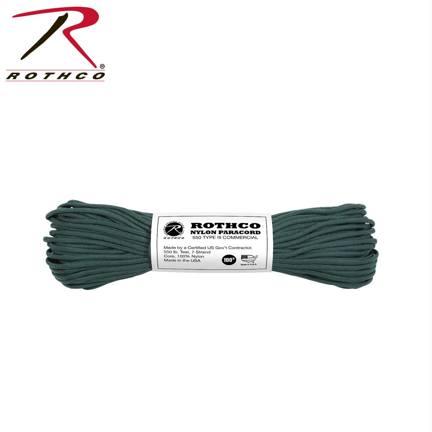 Rothco Nylon Paracord Type III 550 LB 100FT - Hunter Green