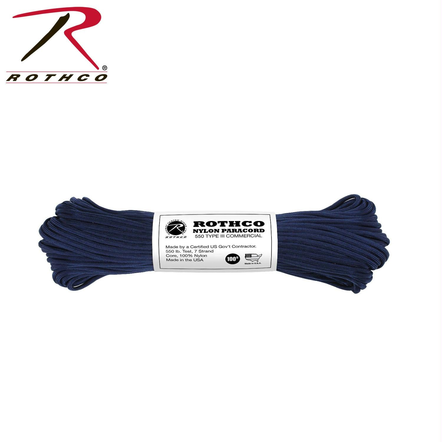 Rothco Nylon Paracord Type III 550 LB 100FT - Midnight Navy Blue