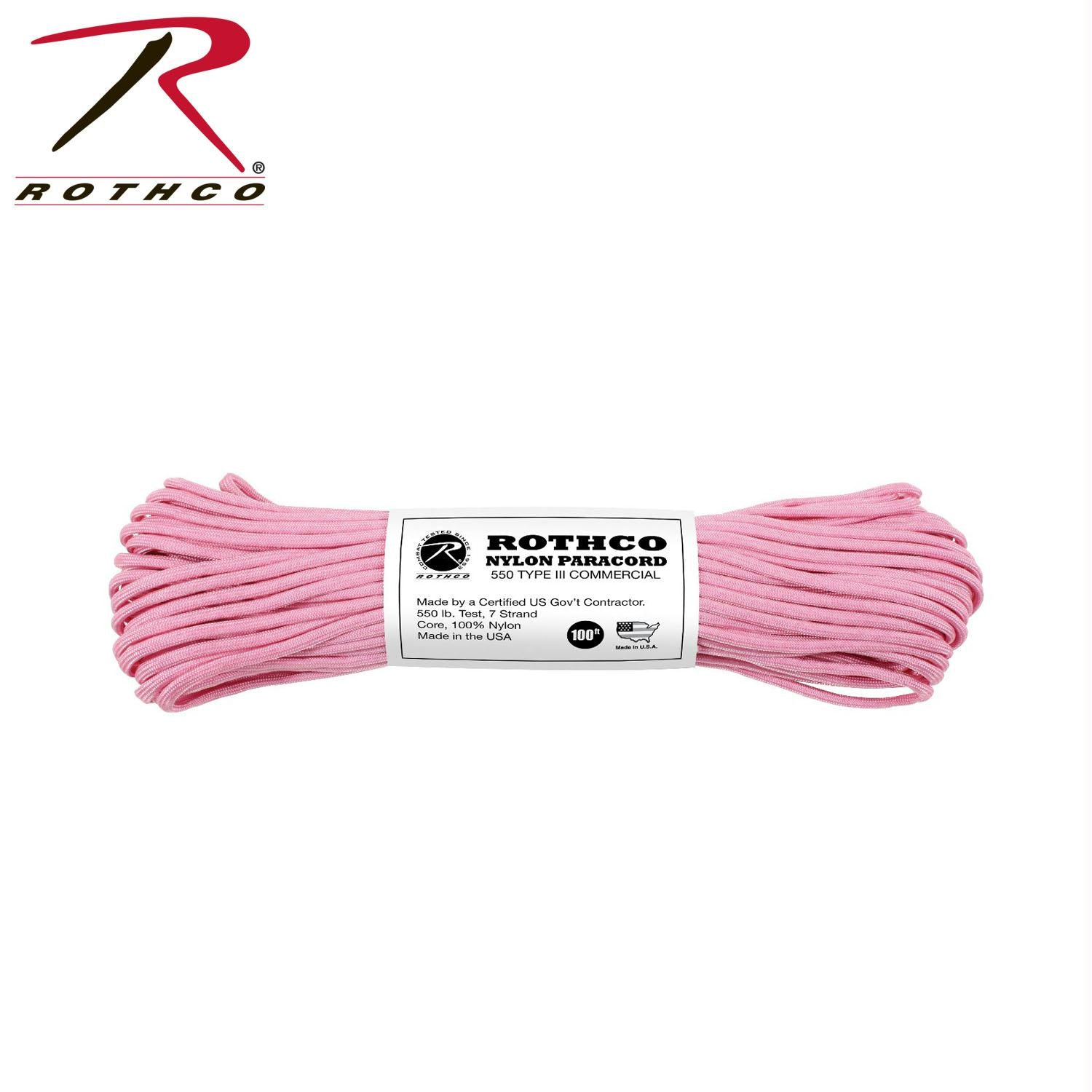 Rothco Nylon Paracord Type III 550 LB 100FT - Rose Pink