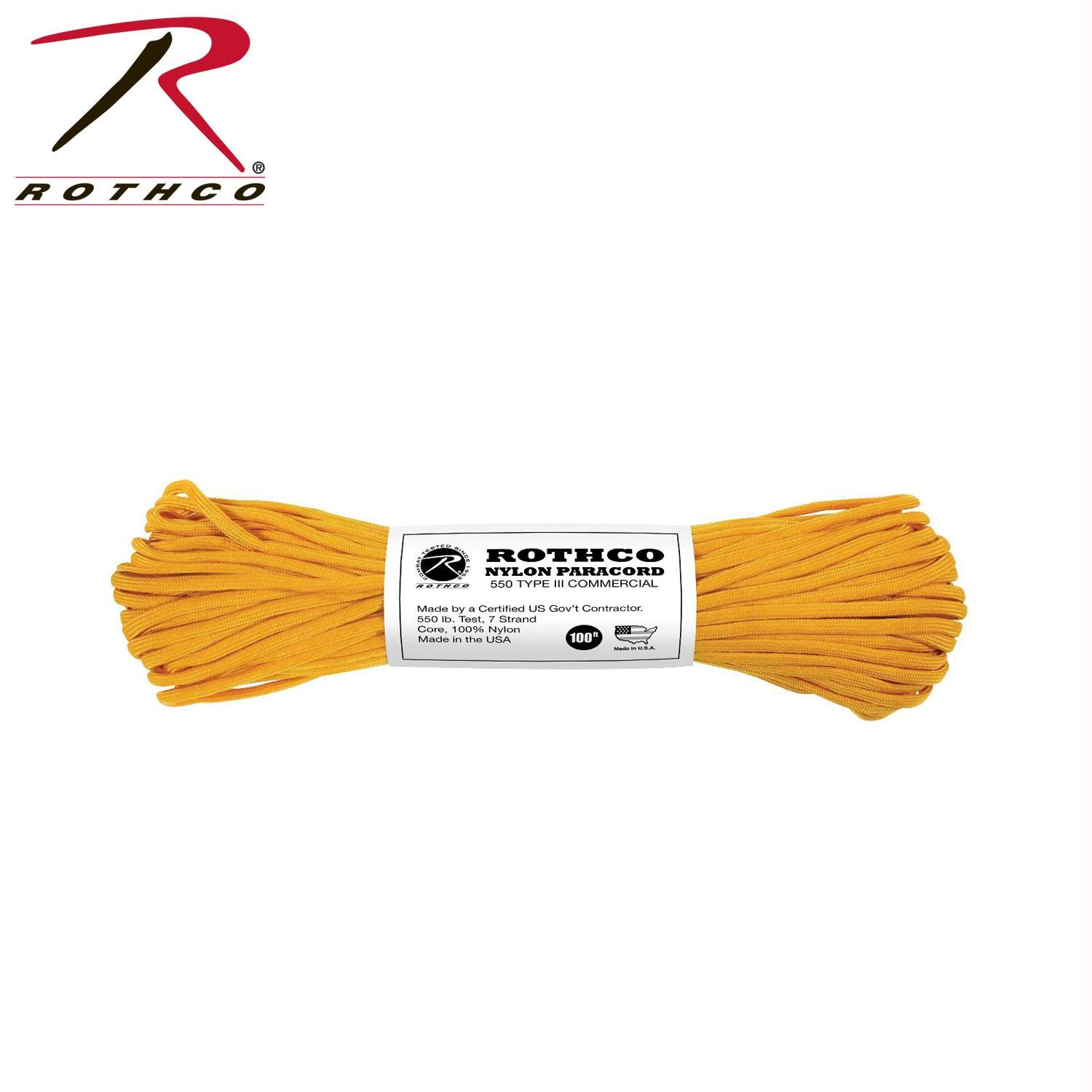 Rothco Nylon Paracord Type III 550 LB 100FT - Gold