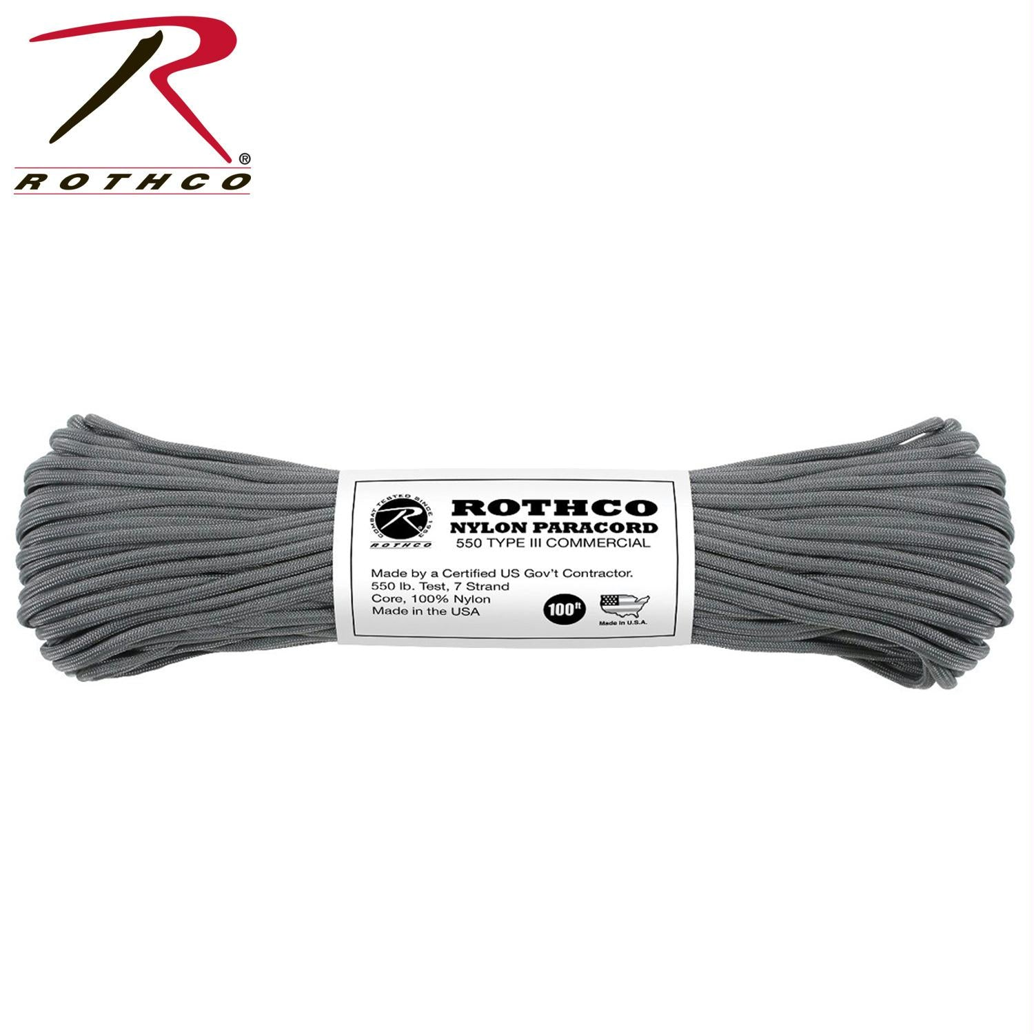 Rothco Nylon Paracord Type III 550 LB 100FT - Charcoal Grey