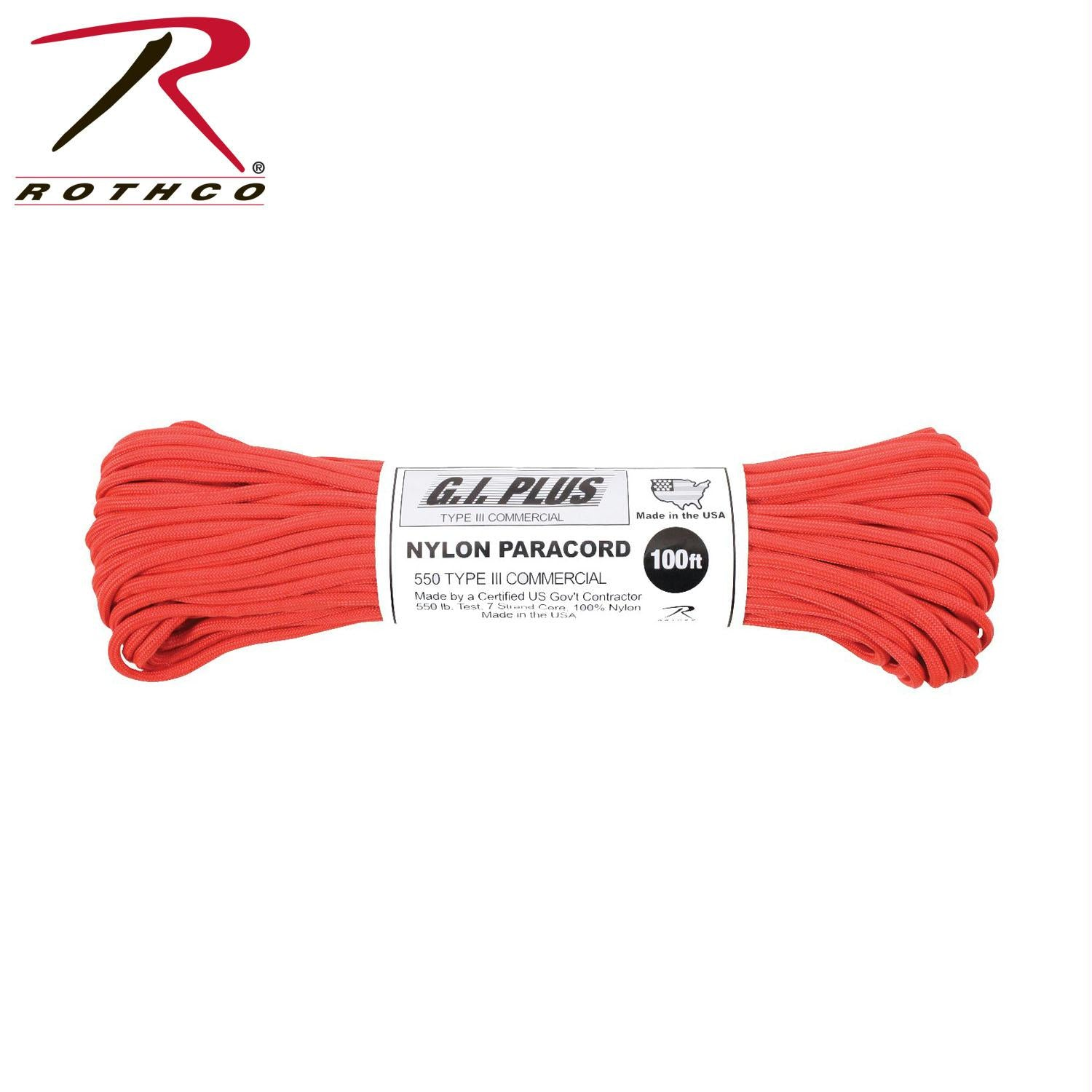Rothco Nylon Paracord Type III 550 LB 100FT - Red