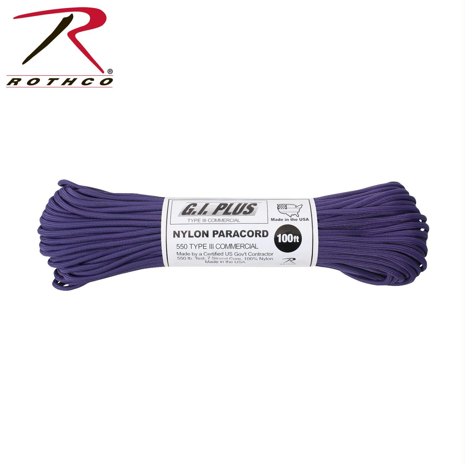 Rothco Nylon Paracord Type III 550 LB 100FT - Purple
