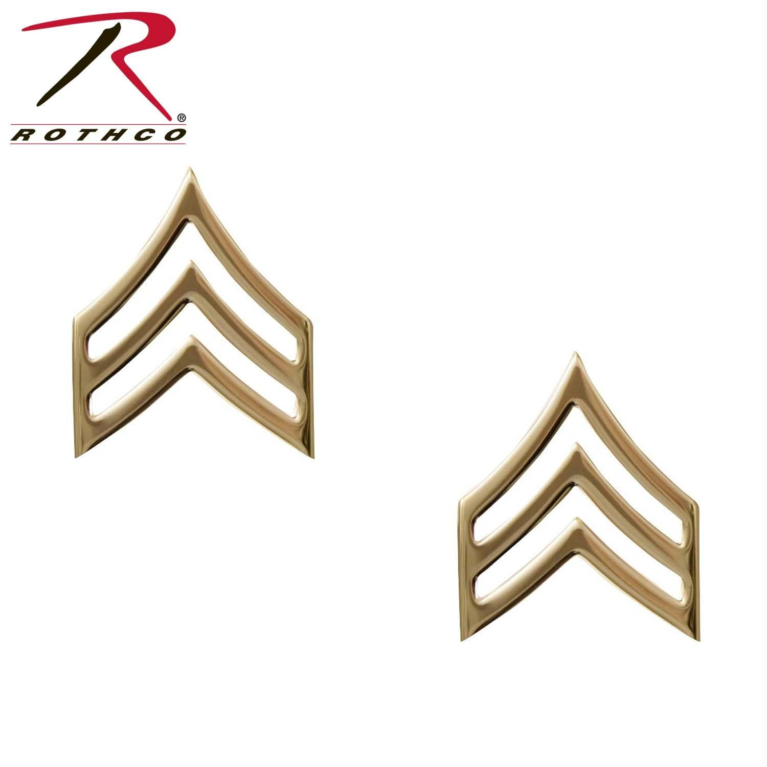 Rothco Sergeant Polished Insignia - Gold