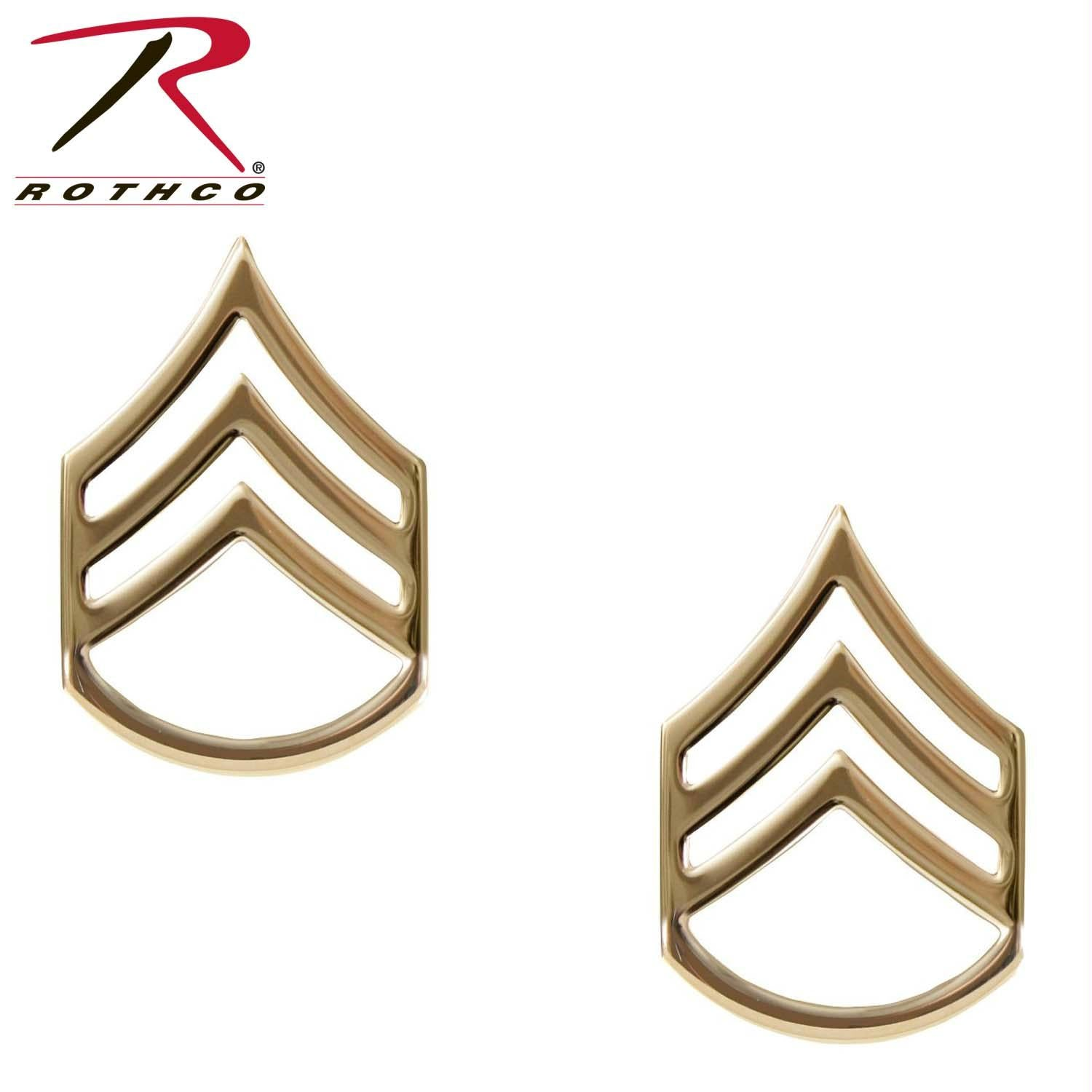 Rothco Staff Sergeant Polished Insignia - Gold