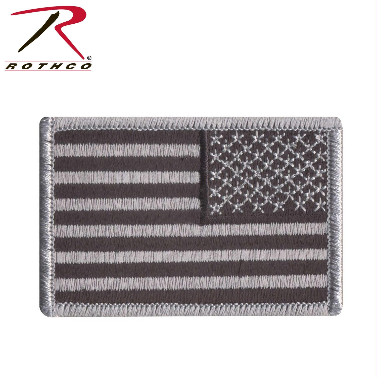 Rothco Iron On / Sew On Embroidered US Flag Patch - Black / Silver / Reverse