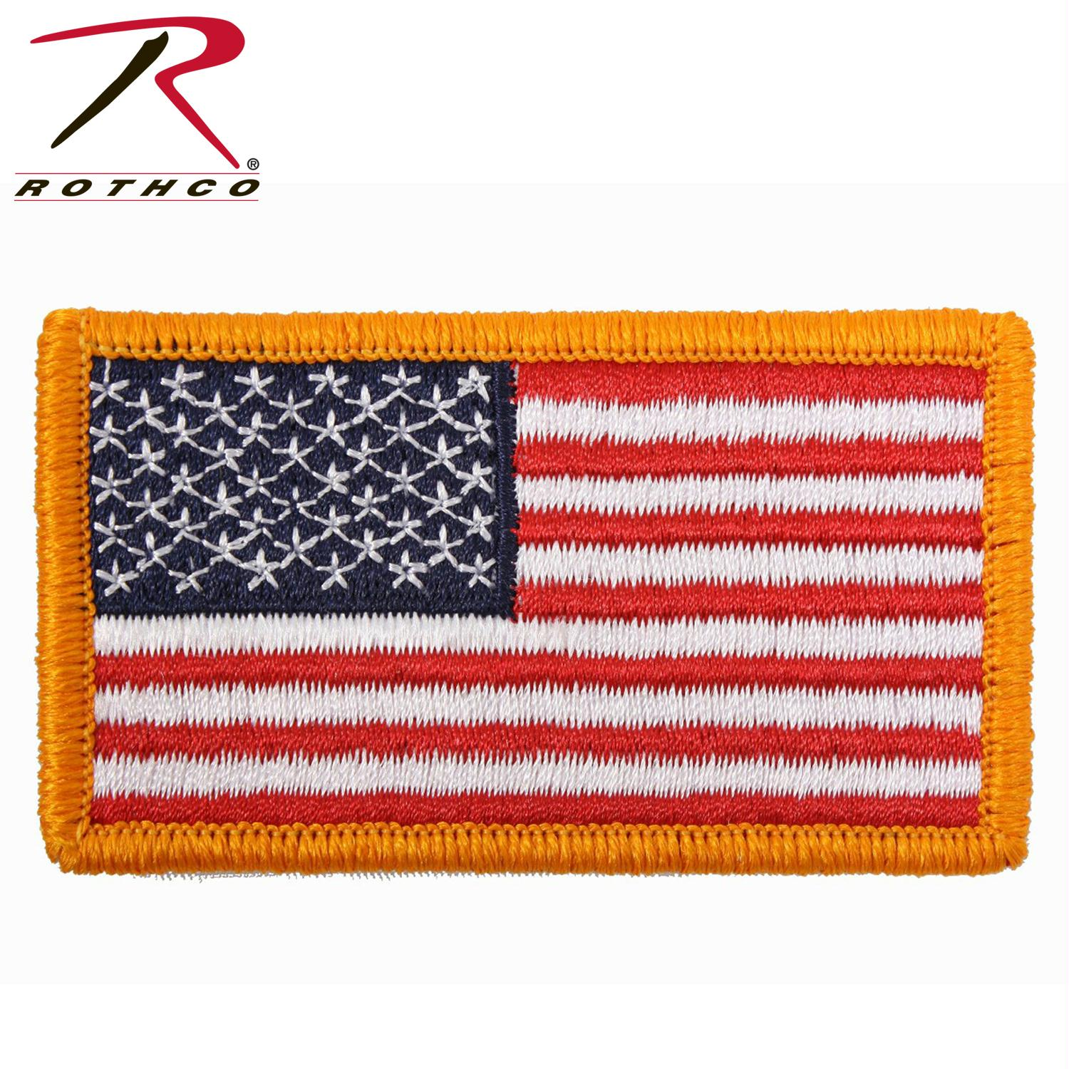 Rothco Iron On / Sew On Embroidered US Flag Patch - Red White Blue with Yellow Border / Normal