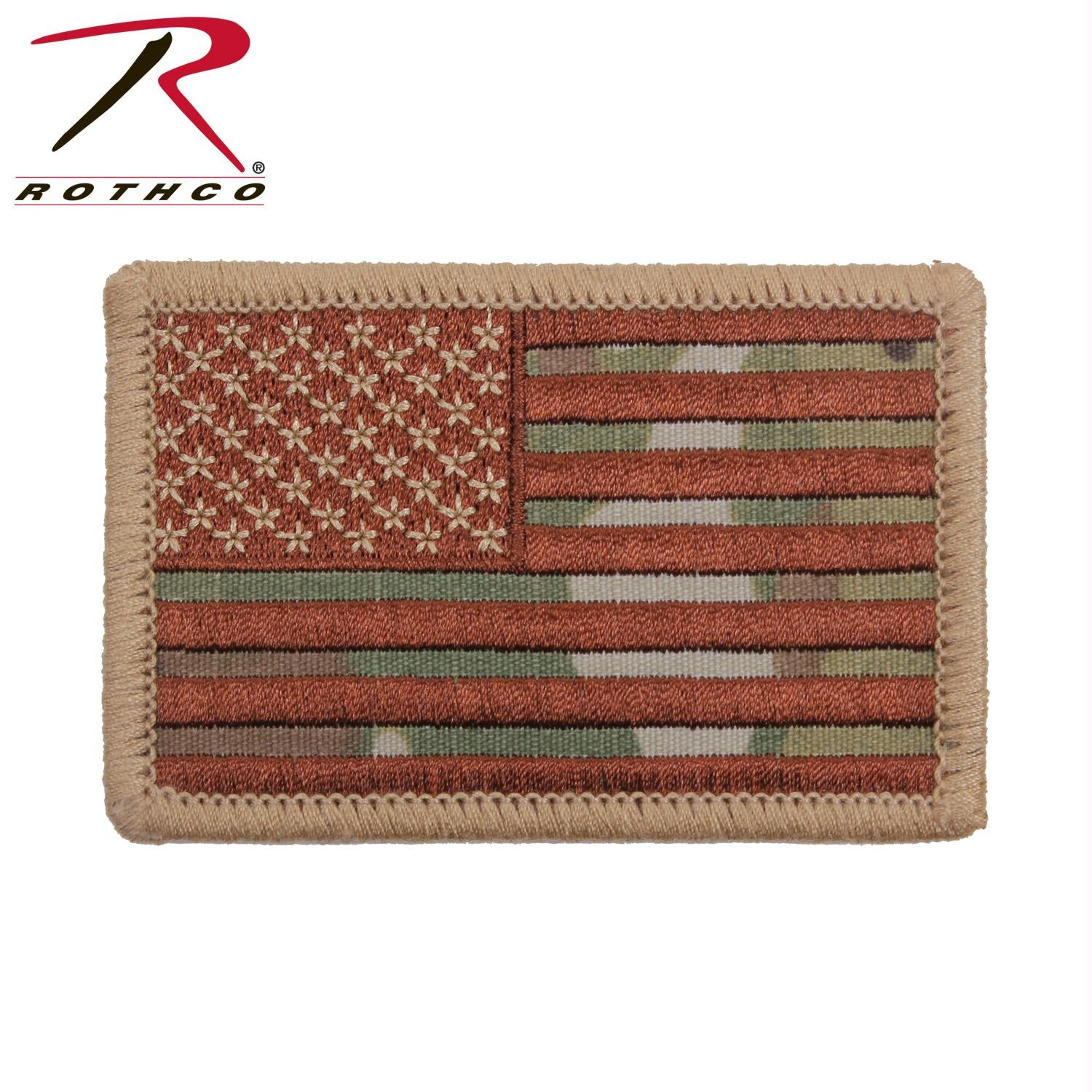 Rothco Iron On / Sew On Embroidered US Flag Patch - MultiCam / Normal