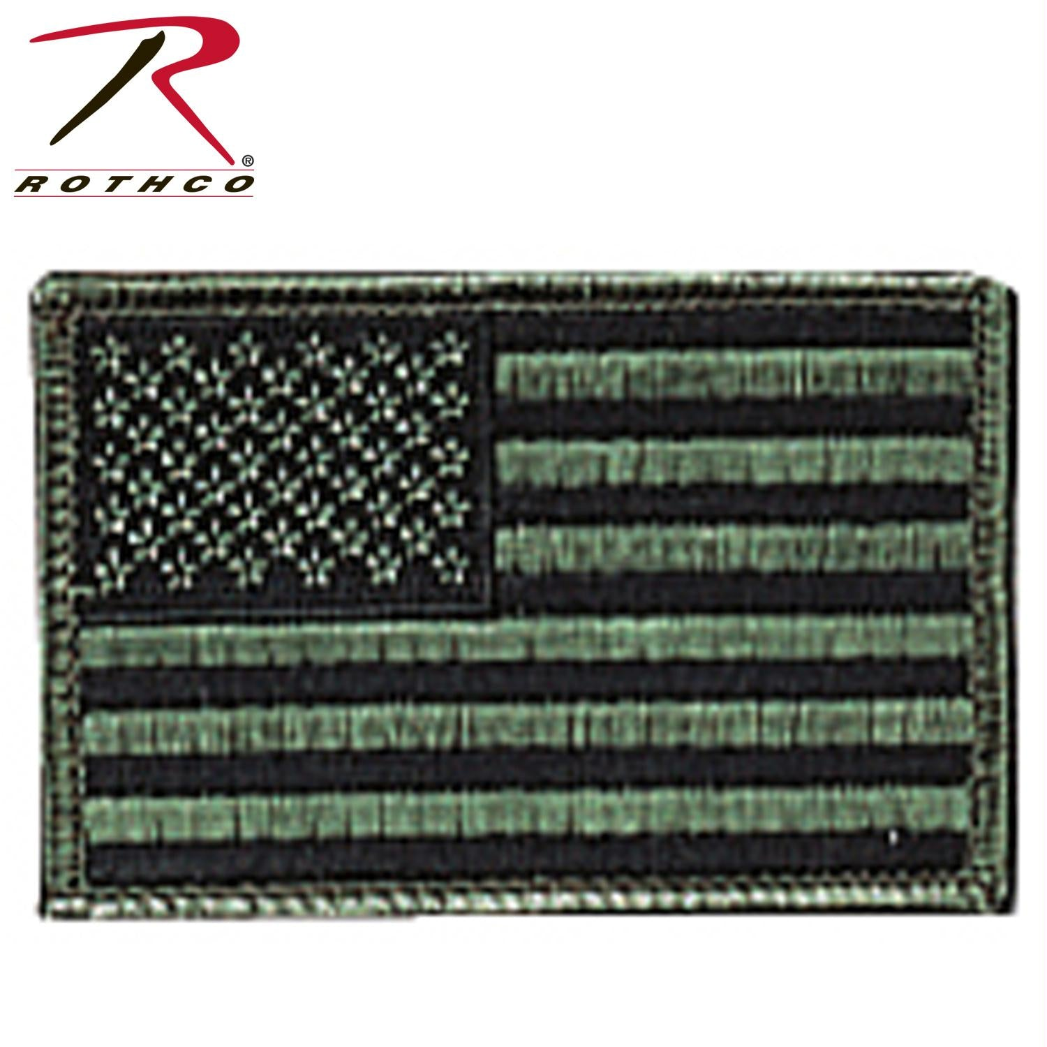 Rothco Iron On / Sew On Embroidered US Flag Patch - Subdued Olive Drab / Normal