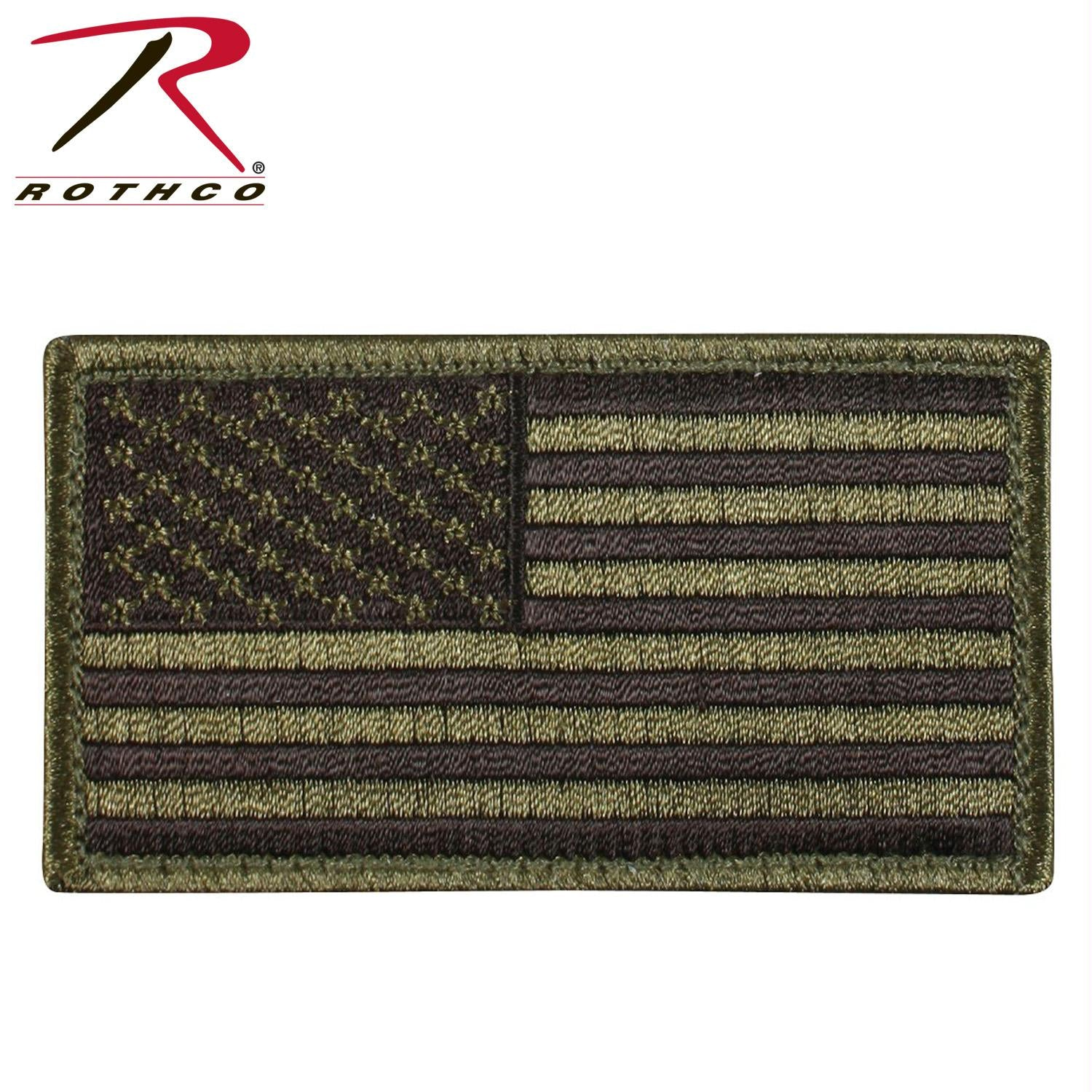 Rothco American Flag Patch - Olive Drab / Black / Normal / Bulk Packaging