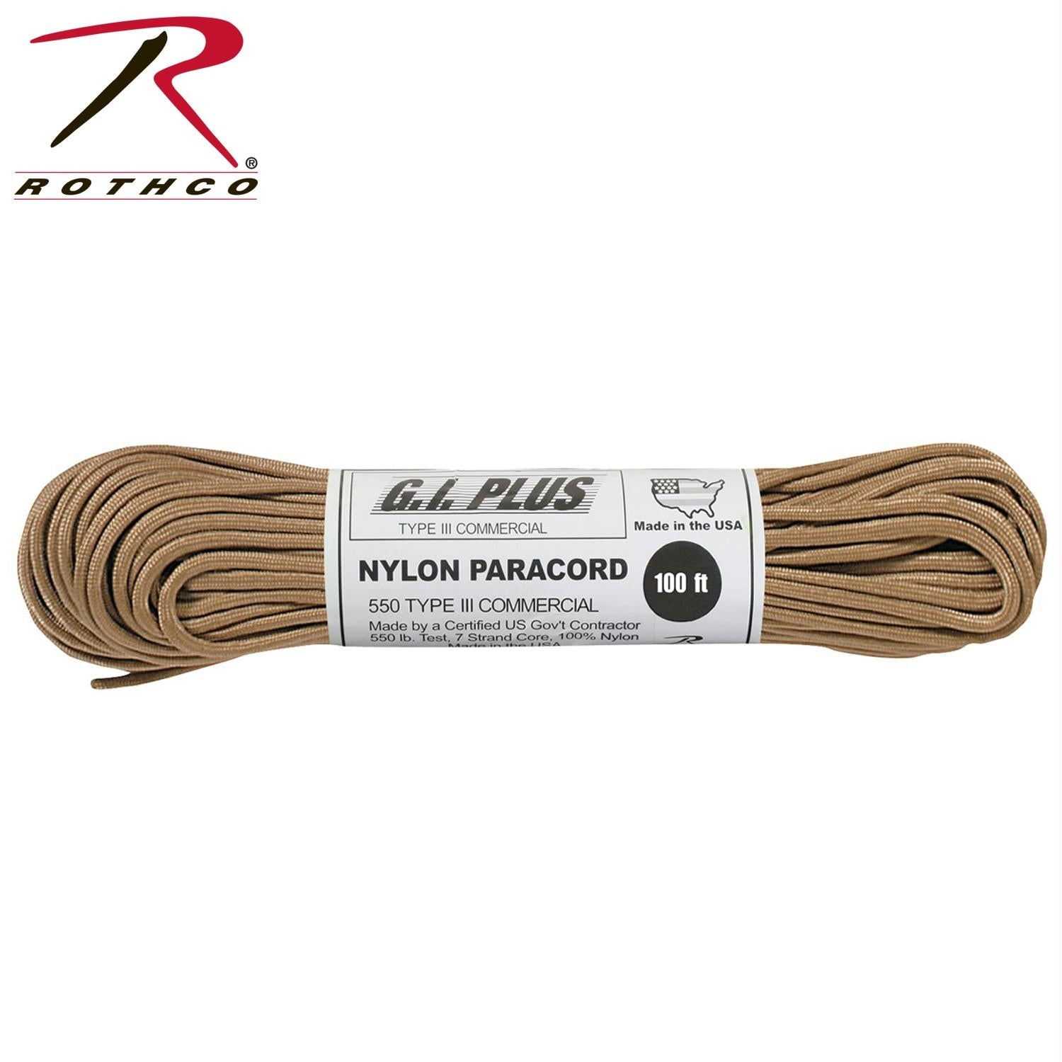 Rothco Nylon Paracord Type III 550 LB 100FT - Tan