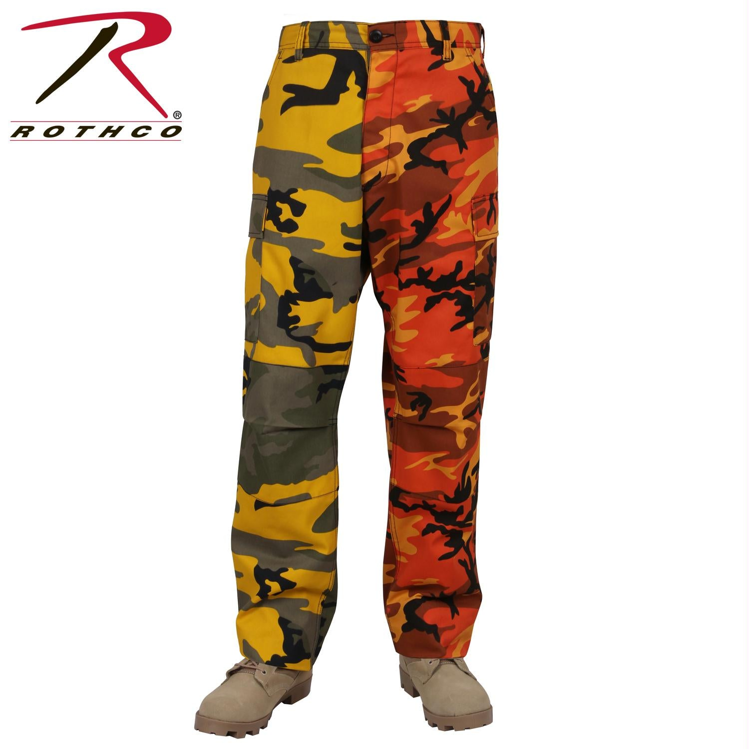 Rothco Two-Tone Camo BDU Pants - Stinger Yellow / Savage Orange Camo / XL