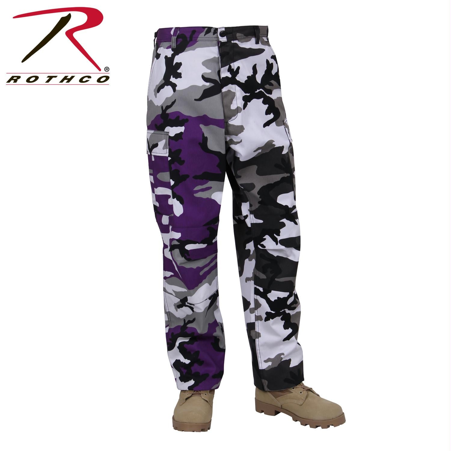 Rothco Two-Tone Camo BDU Pants - Ultra Violet Purple / City Camo / XL