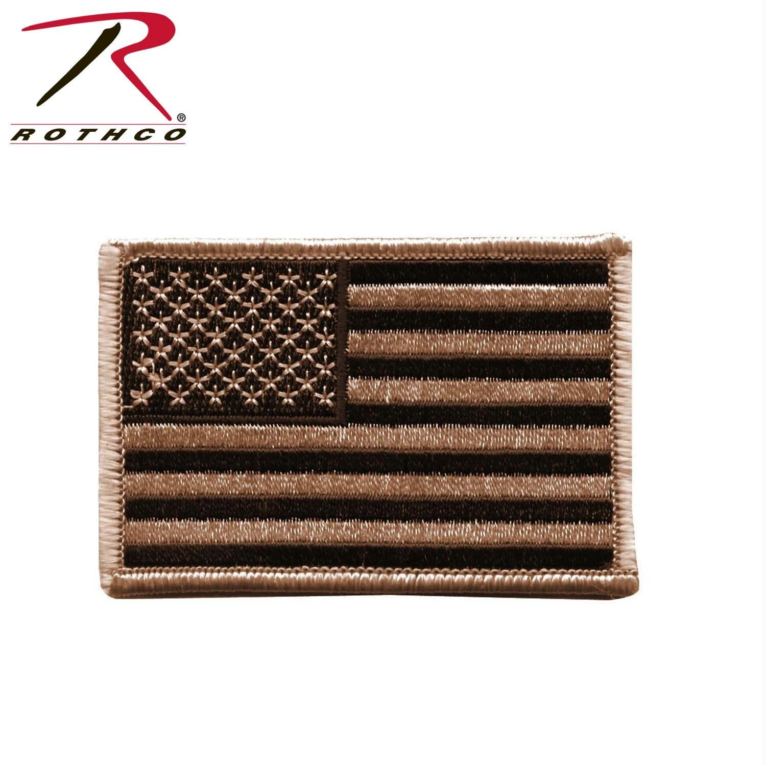Rothco Iron On / Sew On Embroidered US Flag Patch - Desert Tan / Normal