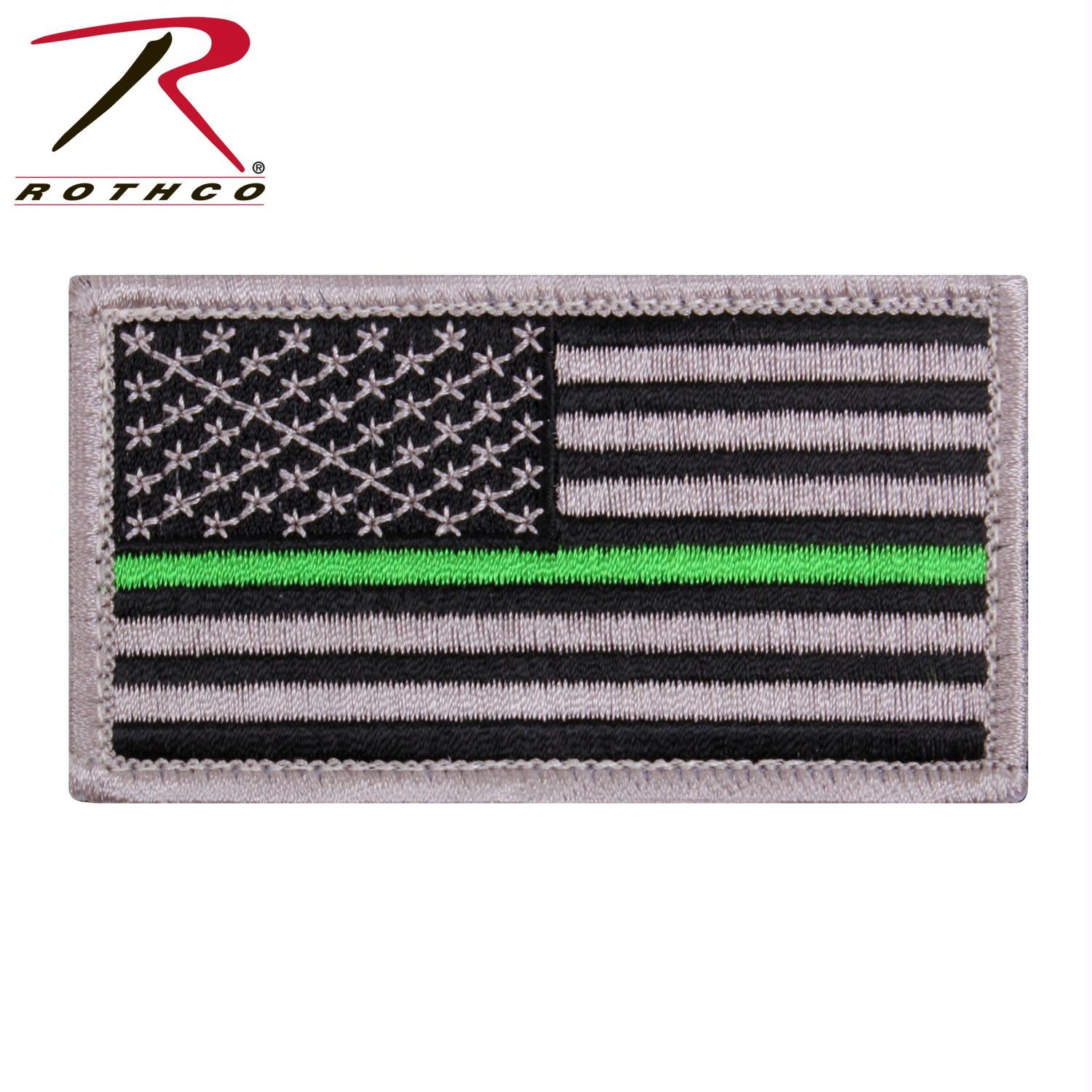 Rothco Thin Green Line US Flag Patch - Black / Silver / One Size