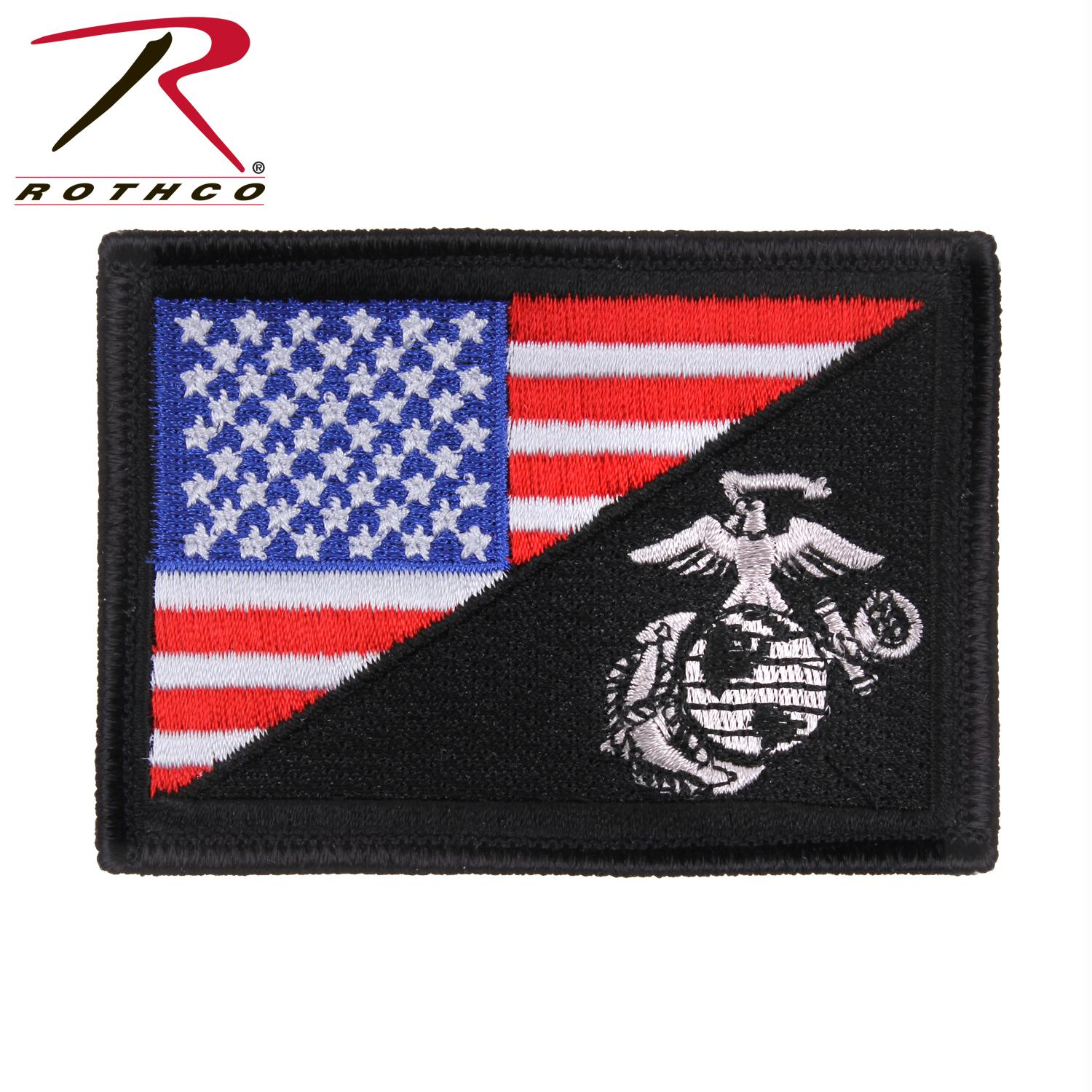 Rothco US Flag / USMC Globe and Anchor Morale Patch - Red / White / Blue