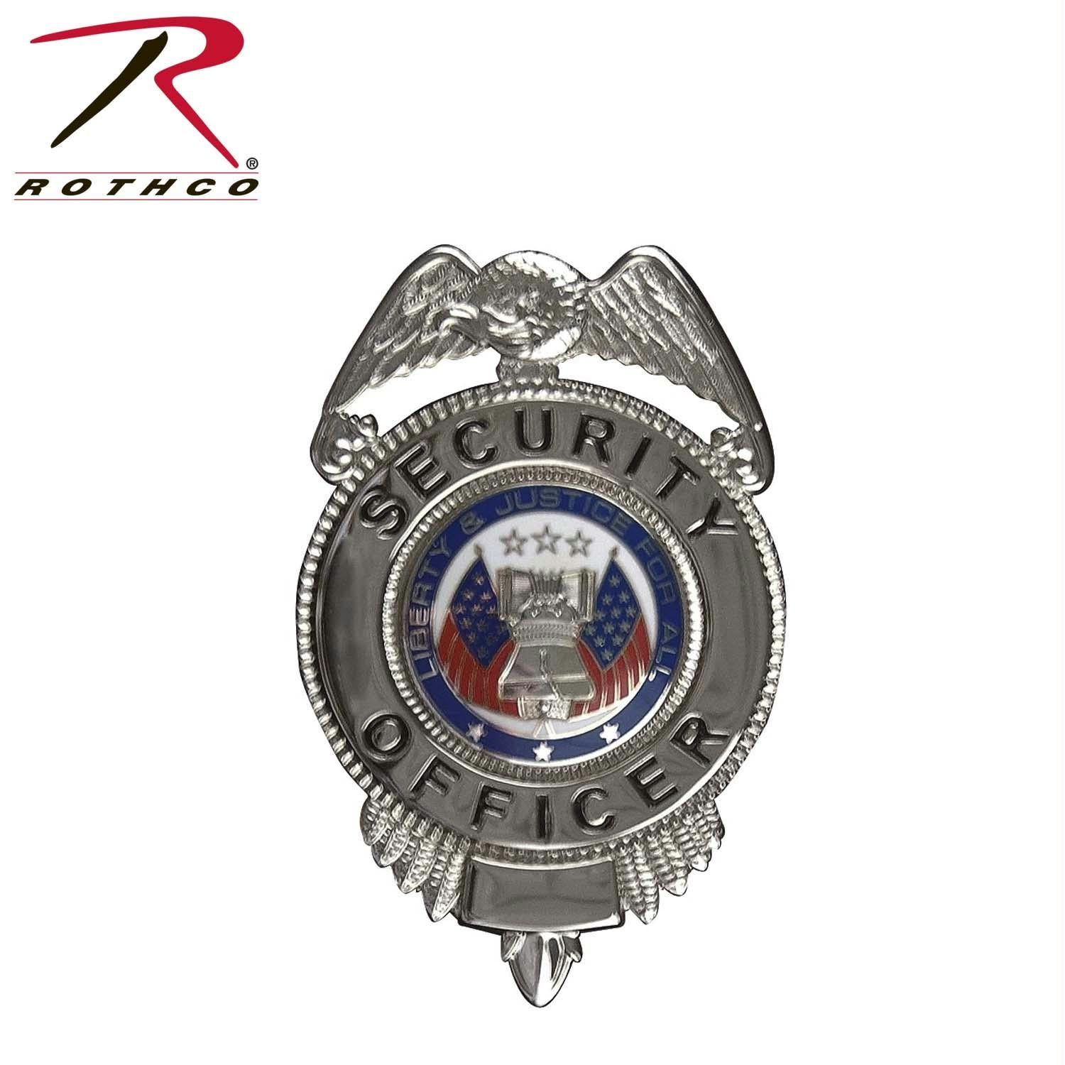 Rothco Security Officer Badge w/ Flags - Silver