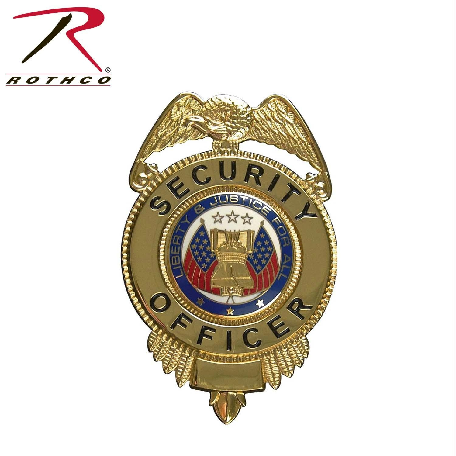 Rothco Security Officer Badge w/ Flags - Gold
