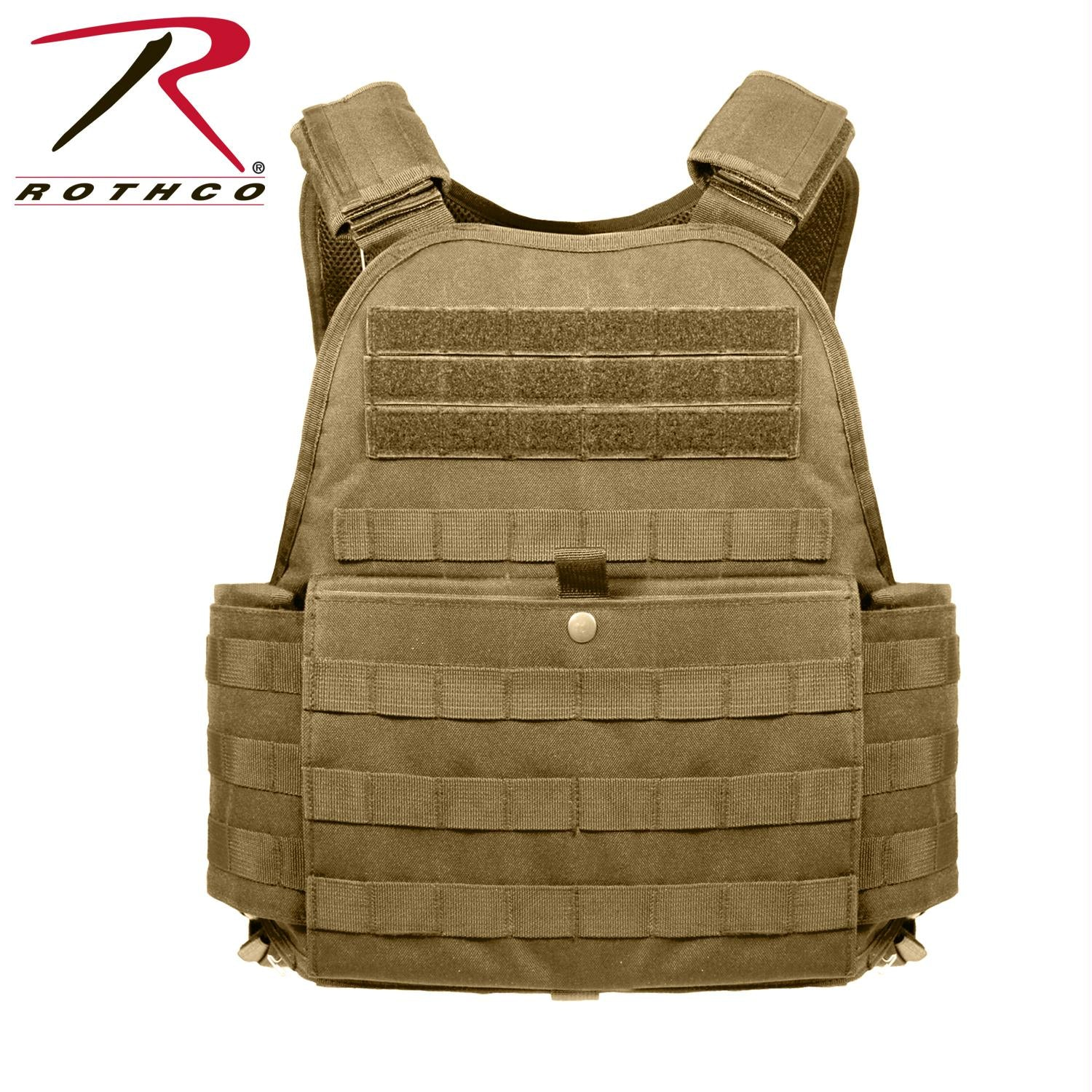 Rothco MOLLE Plate Carrier Vest - Coyote Brown / Oversized