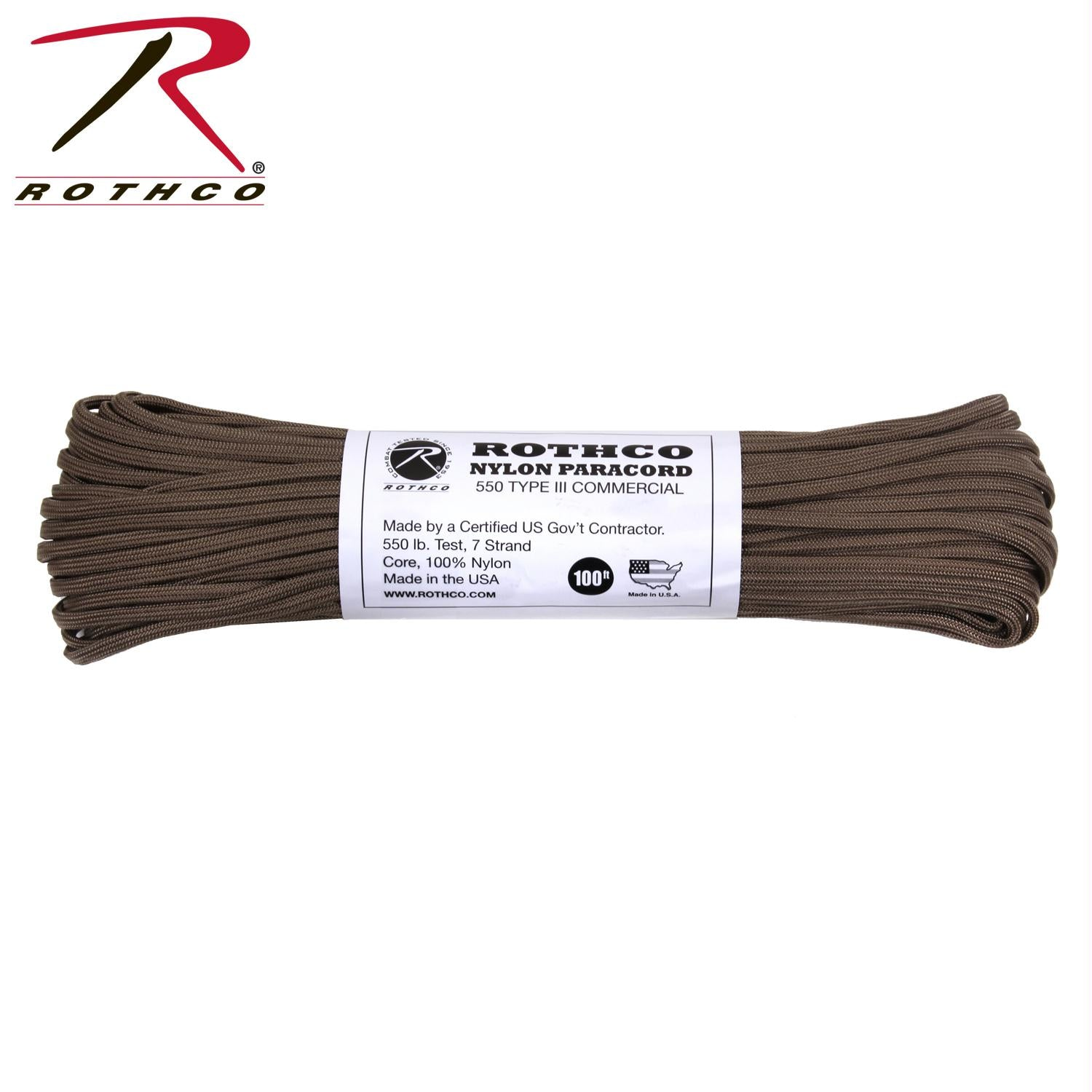 Rothco Nylon Paracord Type III 550 LB 100FT - Coyote Brown