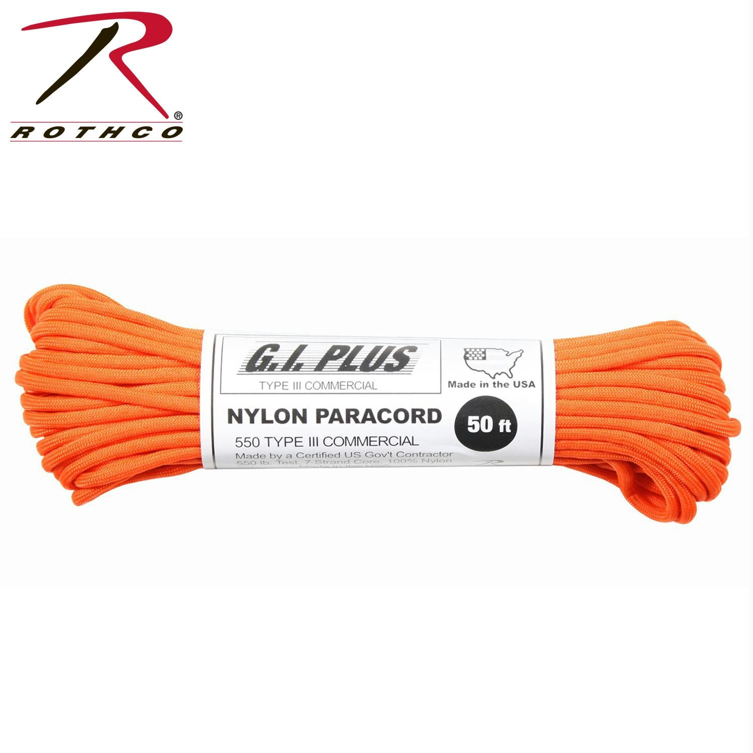 Rothco Nylon Paracord Type III 550 LB 100FT - Safety Orange