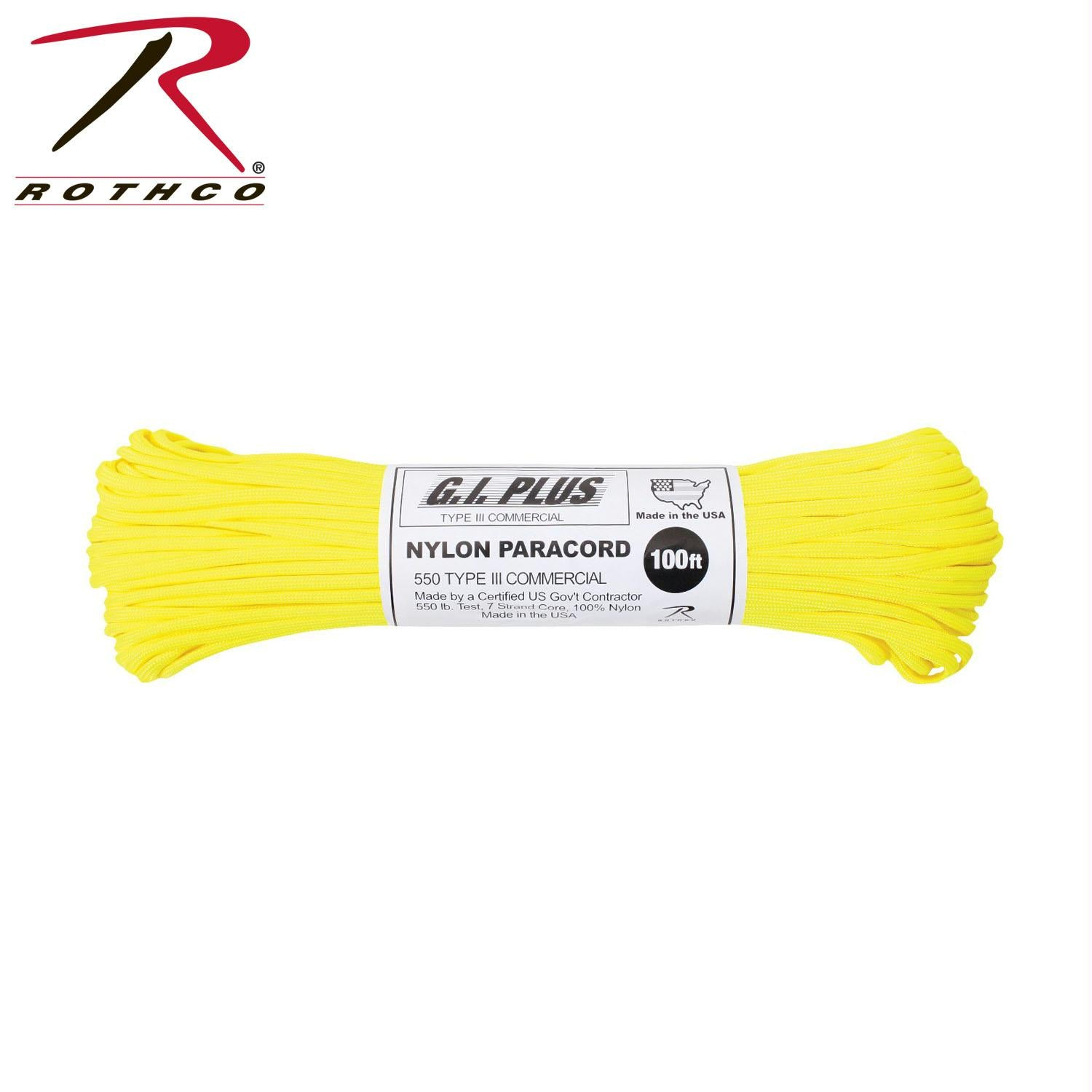 Rothco Nylon Paracord Type III 550 LB 100FT - Neon Yellow