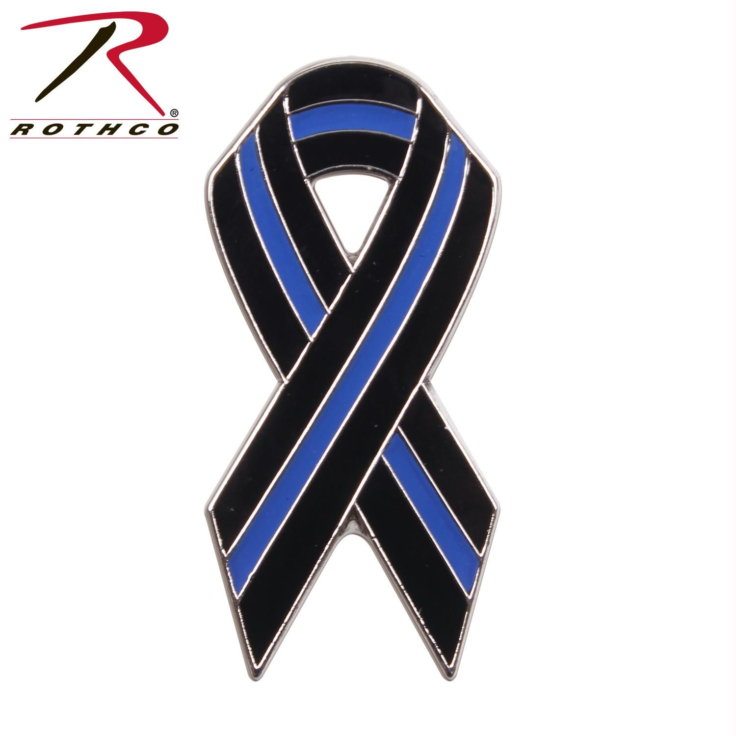 Rothco Thin Blue Line Ribbon Pin - Black / Blue / One Size