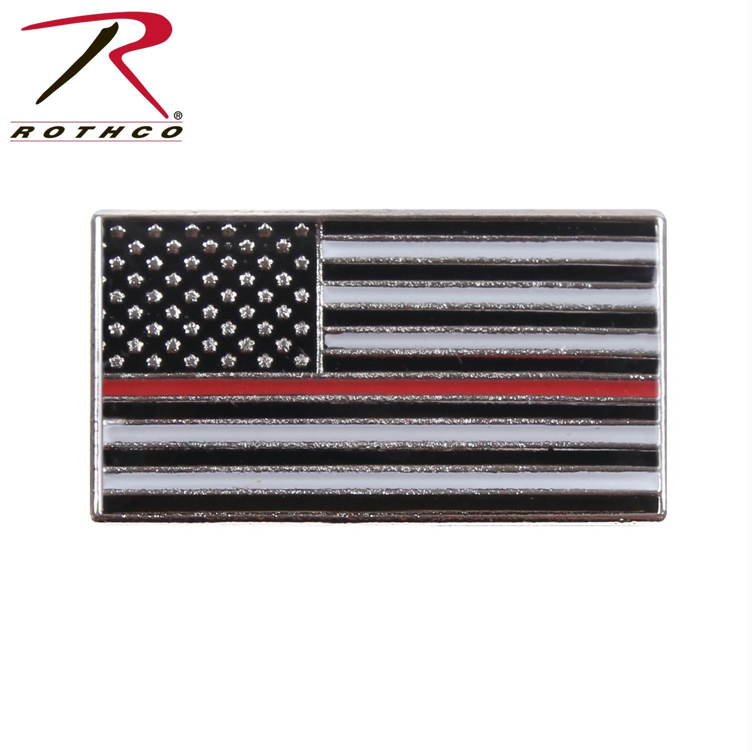 Rothco Thin Red Line Flag Pin - Black / Red / One Size