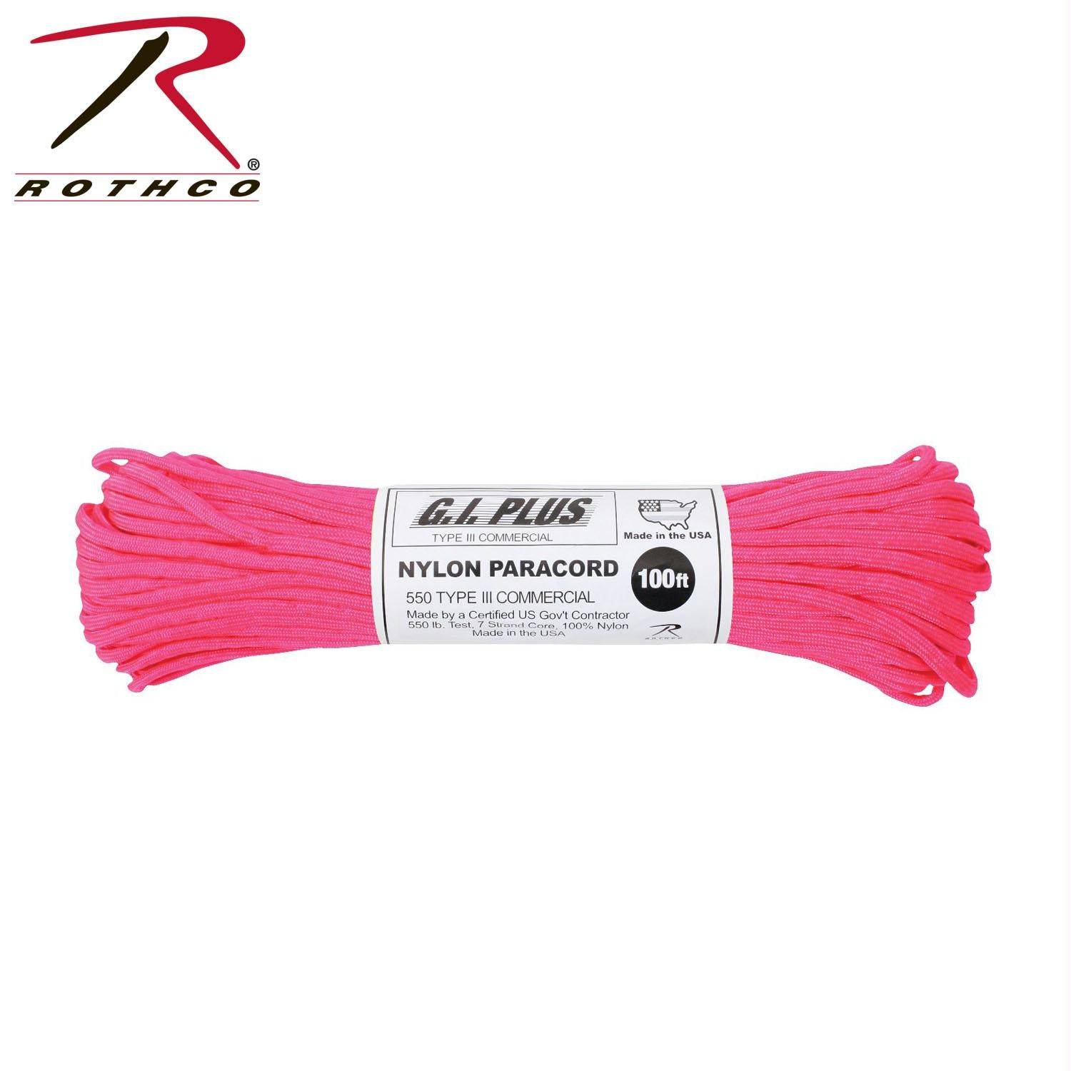 Rothco Nylon Paracord Type III 550 LB 100FT - Neon Pink